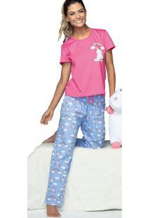 Pijama Longo Arco Íris Demillus 85007 Magenta