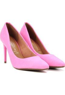 Scarpin Vizzano Básico Salto Alto Camurça - Feminino-Pink