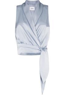 Nanushka Blusa Com Amarração 'Silo' - Azul