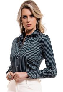 Camisa Feminina Premium Listrada Verde Principessa Rosemeri 030795765520d