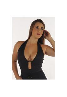 Body Canelado Fec Fashion Com Aro Metálico Preto