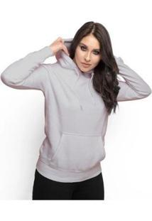 Moletom Feminino Liso Abrigo Inverno Blusa Casaco Com Capuz - Feminino-Cinza
