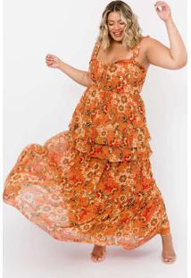 Vestido Almaria Plus Size Tal Qual Longo Chiffon L