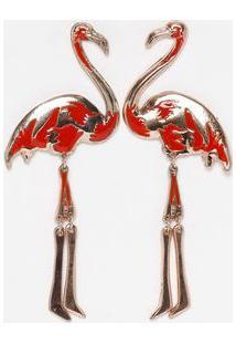 Par De Brincos Flamingo- Bronze & Laranja- 4,5X10Cmeva