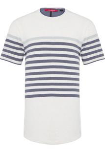 Camiseta Masculina Listrada Santorini - Off White