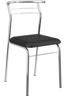 Kit 2 Cadeiras 1708 Napa Cromado Móveis Carraro Preto
