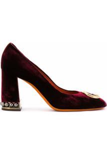 Santoni Sapato De Couro E Veludo - Vermelho