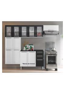 Cozinha Itatiaia Luce 3 Peças 5 Portas De Vidro Branco/Preto