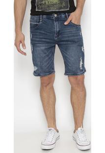 Bermuda Jeans Com PuãDos- Azul Escuro- Pacific Bluepacific Blue