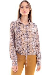 Camisa Estampada Donna Mila Caramelo