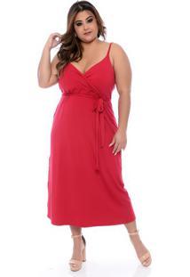 Vestido Amplo Vermelho Plus Size
