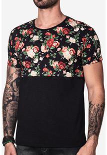 Camiseta Meio A Meio Floral 100822