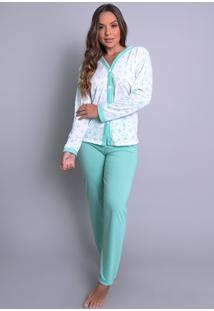 Pijama Mvb Modas Aberto Blusa Com Botões E Calça Verde - Kanui