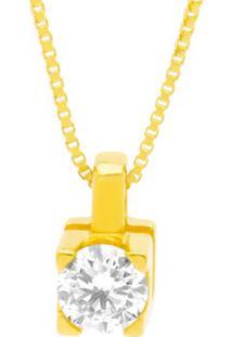 Pingente Solitã¡Rio Ouro Amarelo E 15 Pontos De Diamantes