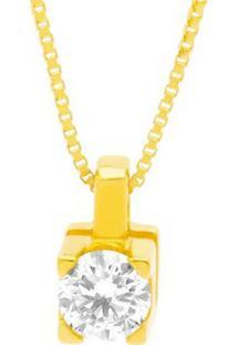 Pingente Solitário Ouro Amarelo E 15 Pontos De Diamantes