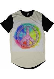 Camiseta Longline Long Beach Simbolo Da Paz Mandala Aquarela Sublimada Branco