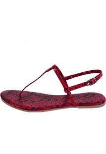 Sandália Rasteira Mercedita Shoes Animal Print Snake Vermelho