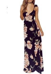 d087a41eaf ... Vestido Longo Floral Ciganinha De Fenda