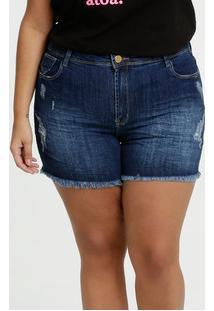 Short Feminino Jeans Destroyed Plus Size Sawary