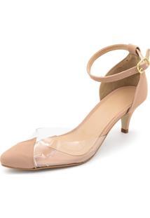 Sapato Scarpin Salto Baixo Em Napa Nude Com Transparência