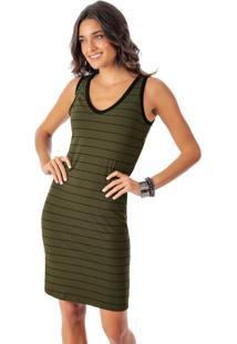 Vestido Listrado Com Decote V Verde