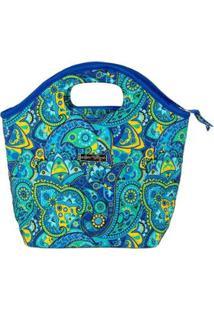 Bolsa Ana Viegas Handbag Tecido Mão Forro Impermeável Prática Feminina - Feminino-Azul Claro