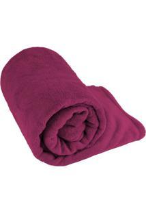 Manta Cobertor Solteiro Fleece Le Casa Lisa 100% Poliéster Rosa Magenta