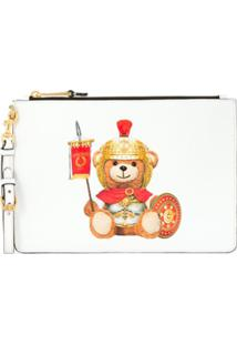 Moschino Clutch Teddy Bear Com Logo - Branco