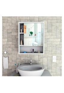 Armário Para Banheiro Com Espelho Slim Branco E Castanho Lilies Móveis