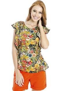 Blusa Floral Cantão - Feminino-Amarelo