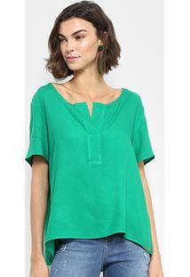 Blusa Colcci Bata Gola V Feminina - Feminino-Verde