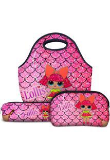 Kit Escolar Tritengo Lollis Glitter Queen - Lancheira Necessaire Estojo