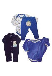 Bebê Lindo Enxoval Maternidade Kit 5 Pçs Conjunto Body Mijão Azul