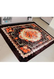 Tapete Aveludado 3D Estampado Floral Marrom Café 2,00Mx2,50M Têxtil Design