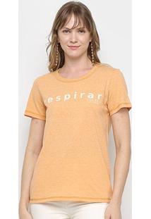 Camiseta Colcci Básica Respirar Feminina - Feminino-Amarelo
