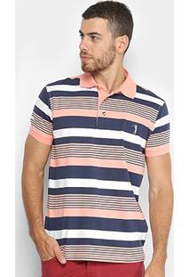 Camisa Polo Aleatory Listrada Masculina - Masculino-Salmão+Marinho