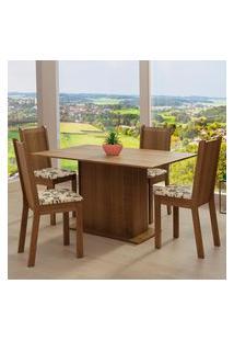 Conjunto Sala De Jantar Madesa Luana Mesa Tampo De Madeira Com 4 Cadeiras - Rustic/Bege Marrom Marrom