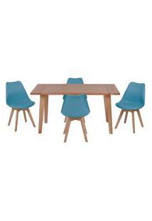 Conjunto Mesa De Jantar Em Madeira 150X80 Vértice + 4 Cadeiras Leda - Turquesa