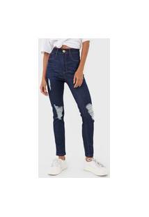 Calça Jeans Lança Perfume Skinny Destroyed Azul-Marinho