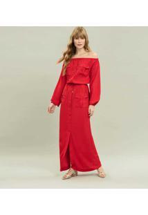 Vestido Longo Manga Longa Vermelho Natty - Lez A Lez