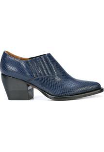Chloé Ankle Boot 'Western' De Couro - Azul