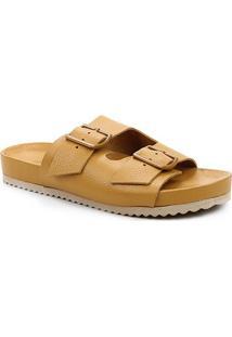 Rasteira Couro Shoestock Tiras Duplas Fivela - Feminino-Amarelo