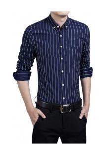 Camisa Masculina Listrada Slim Manga Longa - Azul Marinho