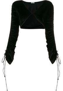 Oseree String Tied Bolero Jacket - Preto