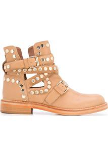 Twin-Set Ankle Boot Com Tachas - Neutro