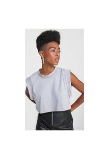 Camiseta Cropped Forever 21 Muscle Tee Cinza