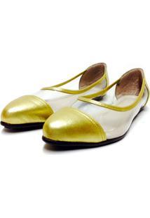 Sapatilha Comfort Bico Fino Bfprime Transparente Com Dourado