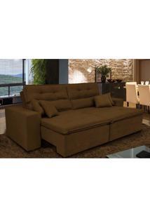 Sofá Cairo 2,32M Retrátil, Reclinável, Molas No Assento E 4 Almofadas Tecido Suede Café Cama Inbox