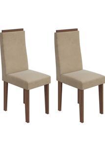 Conjunto De Cadeiras De Jantar 2 Dafne Veludo Imbuia E Bege