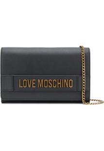 Love Moschino Bolsa Tiracolo Com Placa De Logo - Preto